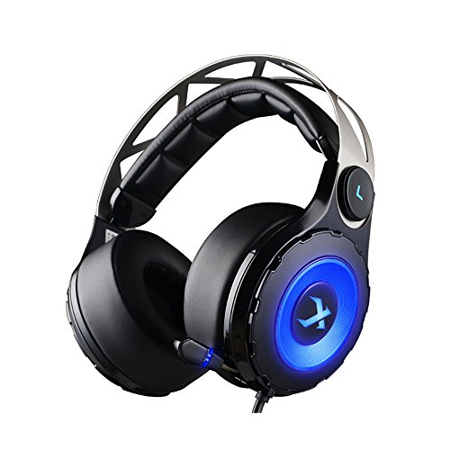 XIBERIA Surround Sound Gaming Headset Noise Isolation Wired Over Ear Stereo Headphones with Retractable Microphone and 3.5mm 4pole Interface for PC / Laptop / Xbox One / PS4 - Black