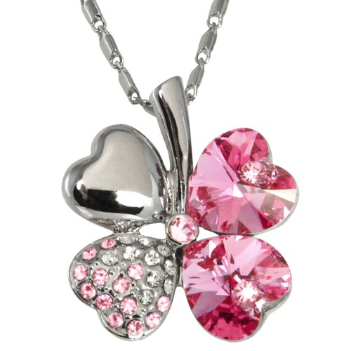 Dahlia Four Leaf Clover Necklace with Swarovski Crystals, Rhodium Plated, 16