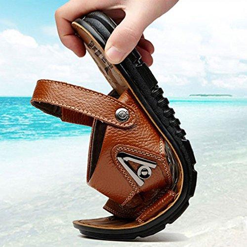Brown da da Uomo Fondo da Dimensioni Esterni Genuino Cuoio Aperti Sandali Grandi Calzature Uomo Sandali Pantofole Morbido JPFCAK Spiaggia di wFHIHq