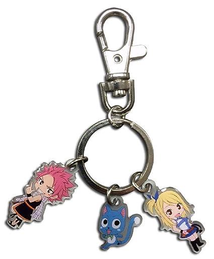 Amazon.com: Fairy Tail: Natsu, feliz y Lucy metal llavero ...