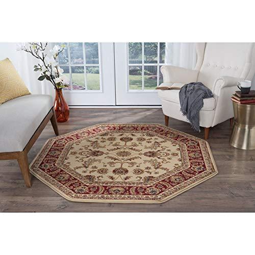 7' Octagon Rug Blue, Red Oriental Rug Polypropylene Floral Carpet Pet Friendly Mat for Bedroom Living Dining Room, Jute (Rug Octagonal Oriental)