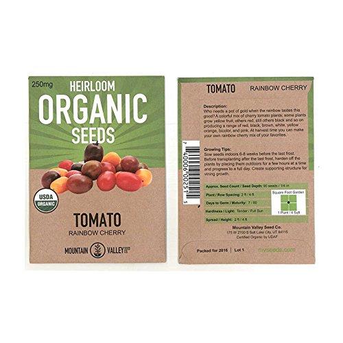 Tomato Garden Seeds - Rainbow Cherry - 250 mg Packet - Non-GMO, Organic, Heirloom, Vegetable Gardening Seed