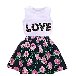 Jastore Girls Letter Love Flower Clothing Sets Top+Short Skirt Kids Clothes