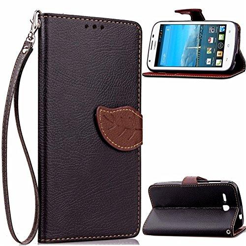 GR Para Huawei Ascend Y600 Cuero de LA PU Nature Leaf cierre magnético estilo Wallet Flip Case Cover ( Color : Brown ) Black
