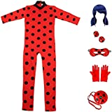 Qfeng Ladybug Miraculous Cosplay for Girls Women Halloween Cartoon Party Cosplay Costume RolePlay Set