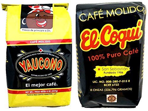 Yaucono Coffee and Caf El Coqui Puerto Rican Ground Coffee Variety: Caf Yaucono y Caf El Coqu de Puerto Rico - in 8 oz bags (1lb Total)- Two of the best Puerto Rico Coffee
