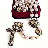 elegantmedical Crystal Quartz Beads Antiqued Catholic 5 Decade Rosary Bronze Cross Necklace