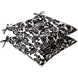 Pillow Perfect Indoor/Outdoor Black/Beige Damask Tufted Seat Cushion, 2-Pack For Sale