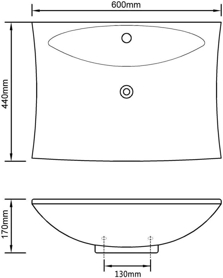 vidaXL Lavabo Rectangulaire en C/éramique Noir de avec Trop-Plein et Trou