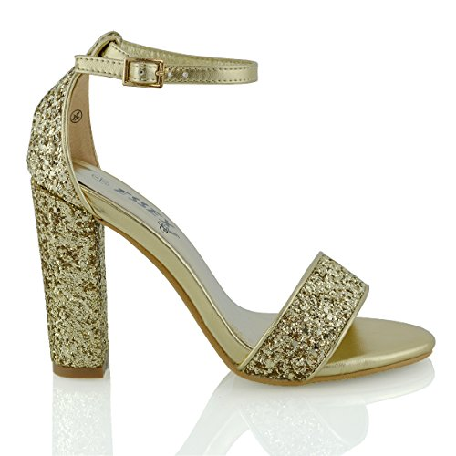 ESSEX GLAM Womens Block Heel Ankle Strap Sandals Ladies Peeptoe Strappy Party Shoes 3-8 Gold Glitter
