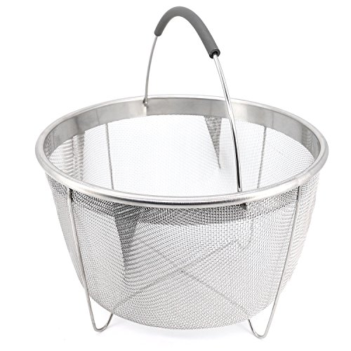 Steamer Basket for Instant Pot 8 Quart and Stockpots, Stainless Steel Fine Mesh Strainers and Colanders Insert with Grey Silicone Handle Must have Vegetable Steamer Kitchen gadget (8 Qt) - Pasta Colander Insert