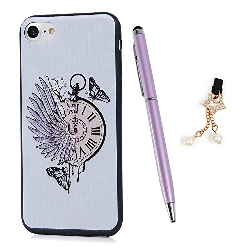 ZSTVIVA iPhone 7 Case, iPhone 8 Case, Soft TPU Rubber Bumper Wall Running Alarm Clock with Chicken Tail Pattern Anti-Scratch Shockproof Case Ultra Slim-Fit Protective Cover - Flying Black Butterfly