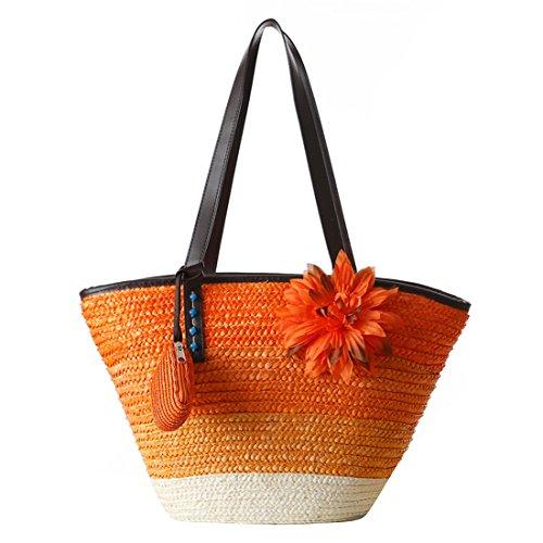 tout à vacances fourre La Ancien Dunland sac paille Bande Femmes nature Shoppers de Orange véritable qwOxOXv