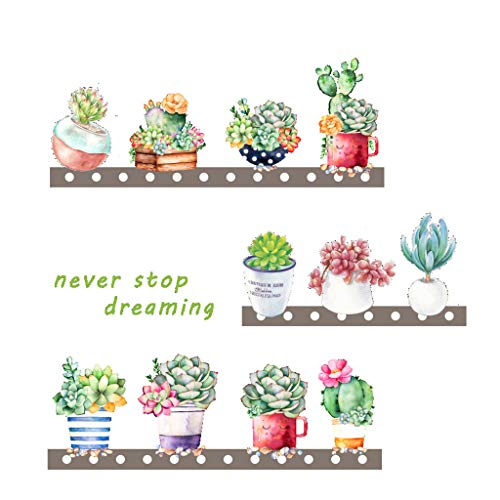 Emptystar Home Decor - Removable Vinyl Decal Art Mural Succulents Wall Paper Wall Art Craft Home Living Room Decor Wall Sticker for Office Nursery Kids Bedroom, 35x12inch (Multicolor) -