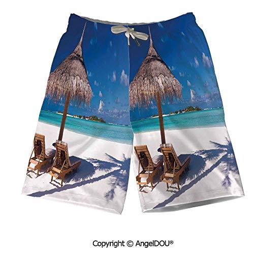AngelDOU Men Board Shorts Bathing Suit,Halloween,Grinning Expression Pumpkin Cou for $<!--$33.80-->