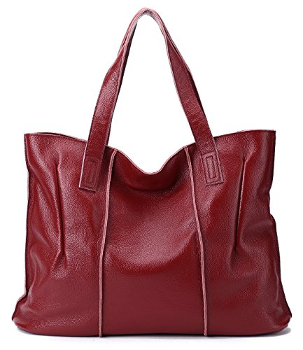 CHERRY CHICK Women's Genuine Cow Leather Tote Bag Large Capacity Soft Handbag Stylish Casual Shoulder Bag (Burgundy-9316) Cow Leather Women Zipper