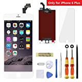 Goldwangwang LCD Touch Screen Digitizer Display Replacement Fully Compatible Frame Assembly with Exquisite Repair kit & Screen Protector(for iPhone 6 Plus, 5.5inch, White)