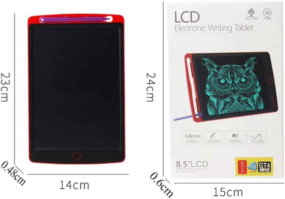 LCD Wordpad//Light Energy Electronic Blackboard//Graffiti Wordpad Red - 8.5 Inch One Touch Erase Suitable for Childrens Painting Graffiti Memo Gift