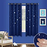 Twinkle Star Cutout Blackout Curtains - PONY DANCE Childishness Top Eyelet Blackout Cut Out Star Curtains / Drapes for Nursery Kids Bedroom, Set of 2 Pieces, W 46' X L 54' per Panel, Navy Blue