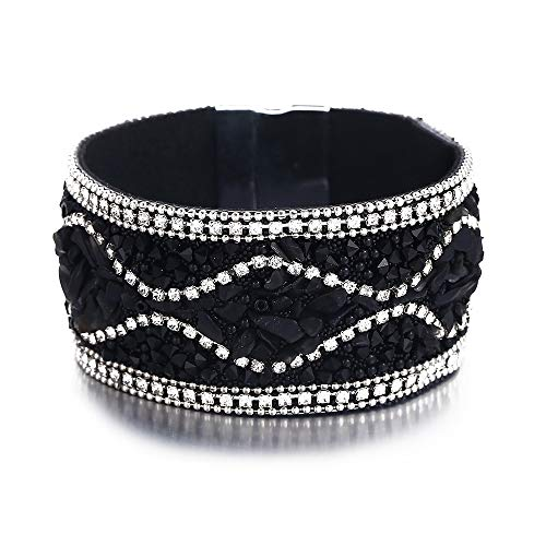 - 17mile Multi-Layer Leather Bracelet - Braided Wrap Cuff Bangle - with Alloy Magnetic Clasp Handmade Jewelry for Women,Girl Gift
