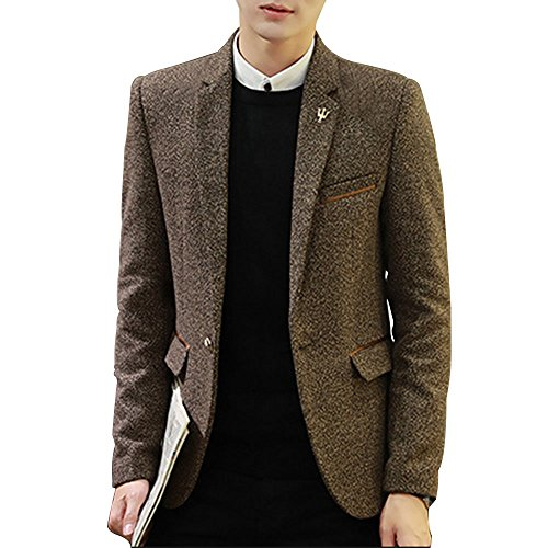 Tweed Lined Coat Fully (LINGMIN Men's 1 Button Center Vent Jacket Casual Slim Fit Tweed Blend Blazer Jacket)