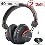 Avantree 40 hr Wireless / Wired Bluetooth 4.0 Over Ear Headphones with Mic, aptX HiFi Headset (Not Low Latency), Extra COMFORTABLE and LIGHTWEIGHT, NFC - Audition [2-Year Warranty]