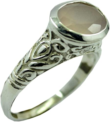 Jewelryonclick Bezel Setting Genuine Rose Quartz Ring Sterling Silver Oval Cut Available in Size 4-12
