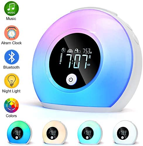 Night Light Alarm Clock, Bedside Lamp with Bluetooth Speaker, Music Wake Up Light Bluetooth Speaker, 5 Colors Clock, 4 Brightness Table Lamp for Bedroom, Living Room, Party, Camping