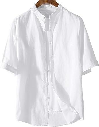 Lazutom Camisa de Playa de Lino y algodón para Hombre, Casual ...