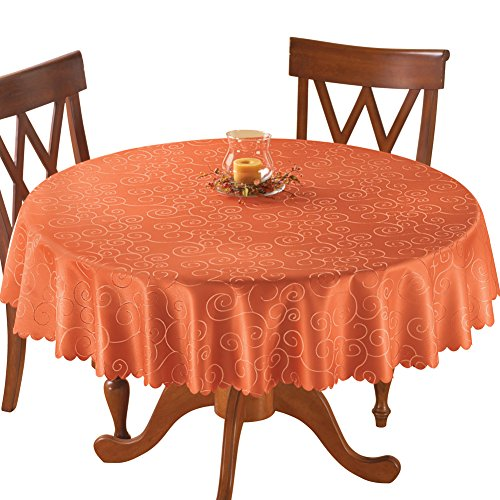 Collections Etc Fancy Scroll Scalloped Edge Festive Tablecloth, Burnt Orange, 70