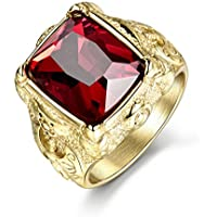 Promsup Gold Filled Red Sapphire Ruby Crystal Axe Totem Men Stainless Steel Rings (12)