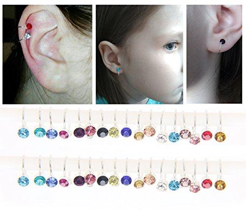 Silver Cuff Diamond (34pcs Cartilage Earrings for Women Cuff Earrings Ear Cuff Non-Pierced Fake Simulated Dimond Clip On Earrings Sterling Silver Ear Clips Wrap)