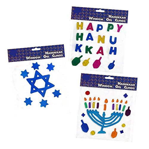 3 Pack of Hanukkah Window Gel Clings Decoration; Hanukkah Decorations includes Happy Hanukkah, Menorah & Star of David!