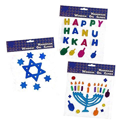 Hanukkah Window Clings Includes 3 Chanukah Gel Decorations Happy Hanukkah, Menorah & Star of David