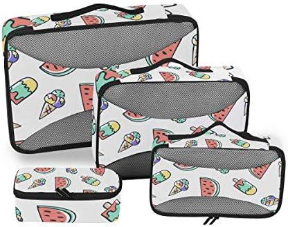 漫画アイスクリームスイカ荷物パッキングキューブオーガナイザートイレタリーランドリーストレージバッグポーチパックキューブ4さまざまなサイズセットトラベルキッズレディース