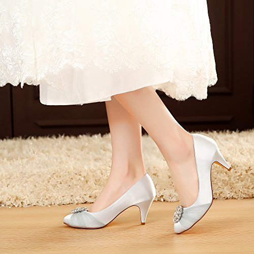 aee8eee03ab2 LUXVEER Satin Women Shoes Wedding Shoes with Rhinestone Bridal Shoes Lace  Wedding Shoes - Heels 2