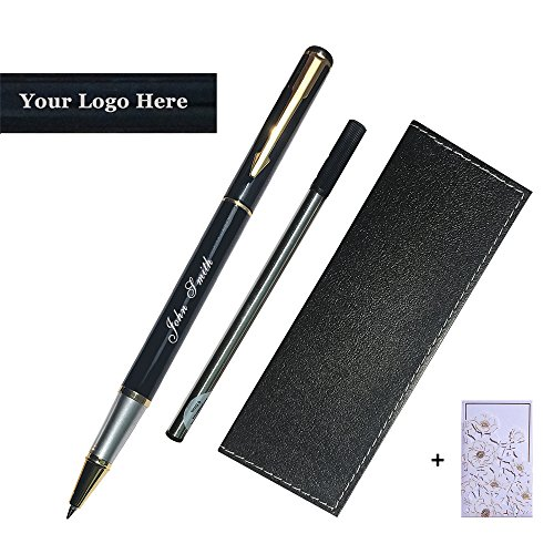 Personalized Engraved Roller Ball Point Pens Medium 0.5mm Black Ink Refills Metal Pen Customizable School Business Office Gift (Customizable Black) -