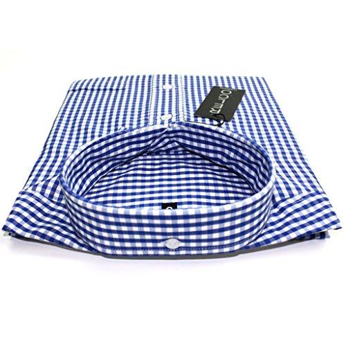 Relco - Herren Hemd Klassisch Gingham Kurzärmelig Button Down Kragen Polyester Baumwolle Hemd