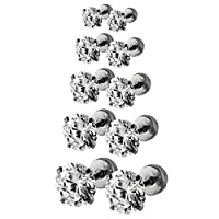 Assorted Sizes Wholesale Lot Stainless Steel Cubic Zirconia Barbell Cartilage Tragus Helix Stud Earring