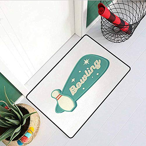 - Gloria Johnson Bowling Inlet Outdoor Door mat Vintage Design in Traditional American Style Hobby Fun Sports Theme Catch dust Snow and mud W23.6 x L35.4 Inch Seafoam Cream and Rust