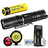Bundle:Nitecore MT20C Tactical Flashlight Compact Multitask Searchlight by NL186 2600mAh 18650 Battery UM10 USB Smart Charger EASTSHINE EB182 Battery Box USB to Wall Adapter