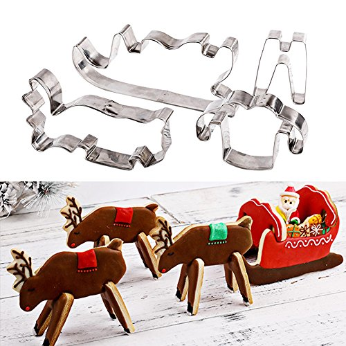 3D Christmas Cookie Biscuit Stainless Steel Cutter, Christmas elk and Sleigh mold, Gingerbread Cookie Stencil, Cake Mould, Fondant Decorating Tools Baking Mold