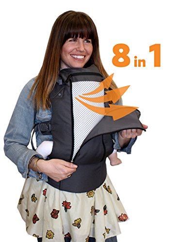 Beco 8 Baby Carrier - Dark Grey Cool - All Seasons Ergonomic Baby Carrier Comes Complete with Infant Insert, Removable Lumbar Support, 360° of Comfort for Parent and Child