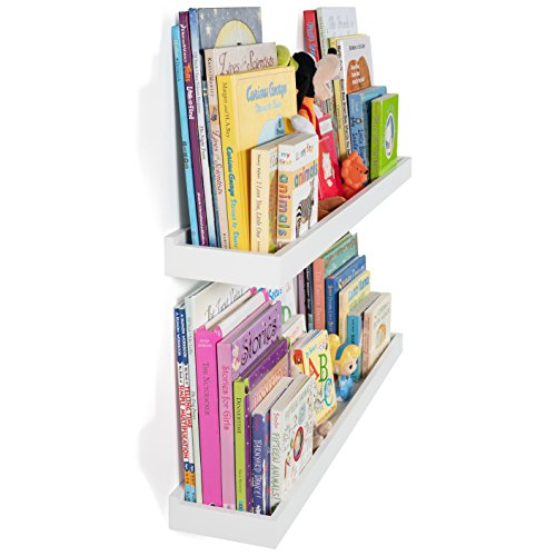 Wallniture Philly Nursery Bookshelf - Floating Book Shelves for Kids Room - 31 Inch Picture Ledge Book Tray Toy Storage Display White Set of 2 (Shelving Kids Room)
