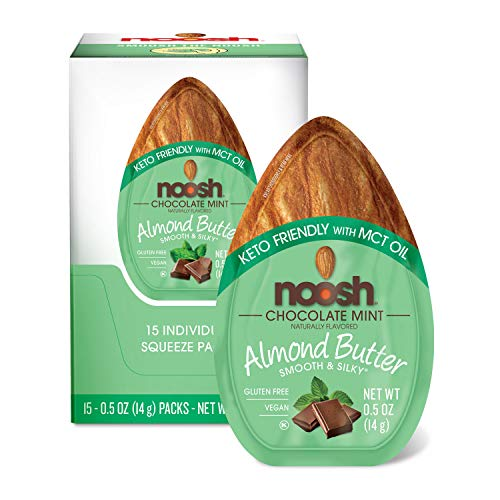 NOOSH Keto Friendly Chocolate Mint Almond Butter Packets 15ct (0.5oz) - Naturally Sourced Ingredients, Vegan, Gluten Free, Kosher, Non GMO, No Soy, No Dairy, No Peanuts, Keto Friendly, low carb