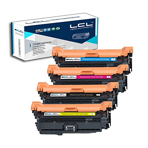 LCL Remanufactured Toner Cartridge Replacement for HP 504A CE250A CE251A CE252A CE253A CP3525 CM3530 (4-Pack Black Cyan Magenta Yellow)