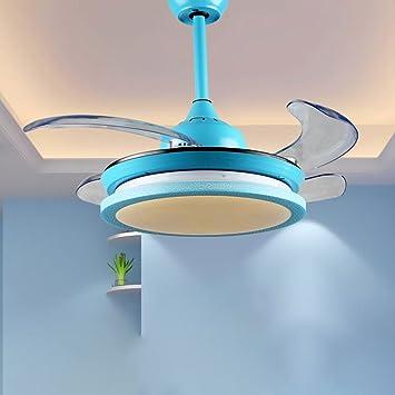 RS Iluminación moderna Simple dormitorio niños ventilador luces LED Stealth Ventilador Ventilador de techo de acrílico lámpara de araña azul niños luces: ...