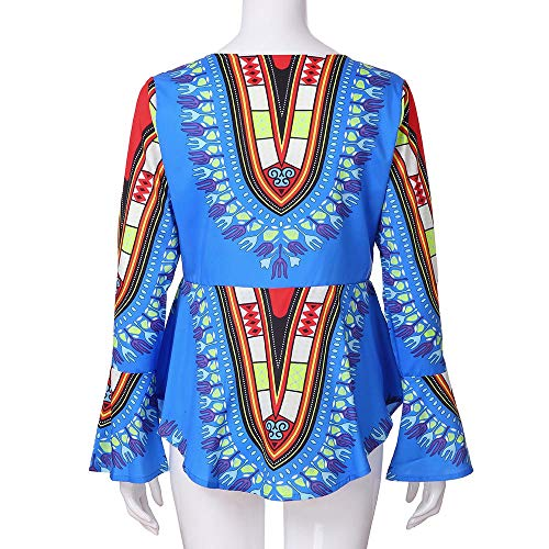 TiaQ Zipp Chemisier Haut Sky Blue Manchon Longues Femme Imprimer Dcontracte Blouse Manches vas r8TrC