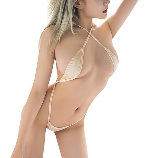 Women Mini Bikini One-Piece Teeny Weeny Bodysuit Teddy Lingerie Strappy Criss  Cross Babydoll Nightwear 8617b3665