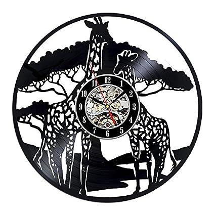 Türign® Relojes de Pared Reloj De Cuarzo 3d dibujos animados Jirafa mesa Relojes, Reloj